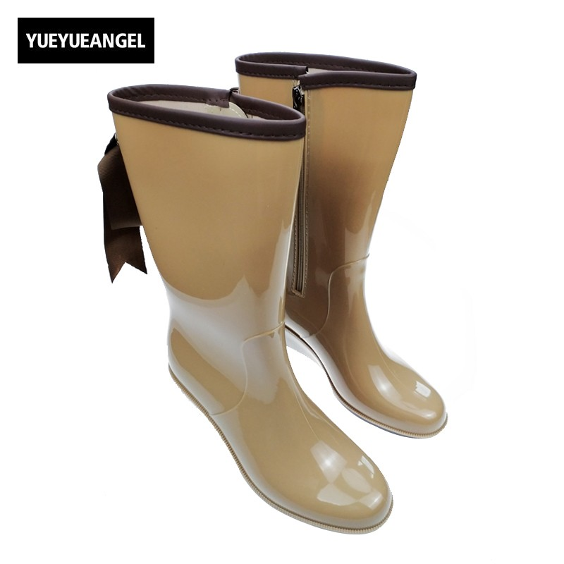 New Arrival Fashion Womens Rain Boots For Woman Rubber 4 Style Las Wellies Mid Calf