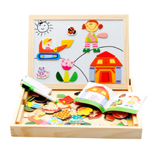Multifunctional Educational Farm Animal Wooden Magnetic Puzzle Toys Jigsaw Baby Drawing Easel Board Fridge Magnets Kids Gifts
