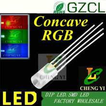 LED strip 5mm RGB led wide view angle Concave flat top 4-legs multicolor led diode common cathode