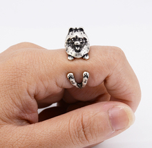 Fashion Vintage 3D Pomeranian Wrap Ring Boho Chic Handmade Pomeranian Dog Animal Rings For Women Men Pet Jewelry Best Gift BFF