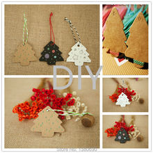 Christmas Decor 100 MINI Christmas Trees Kraft Paper Label Tags DIY Wedding Xmas Party Favor Gift Card Luggage Tags Packaging