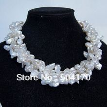 Charming 4 Strands Keshi Reborn Pearl Necklace Keshi Pearl Jewelry Strands New Wholesale Price Free Shipping FP67