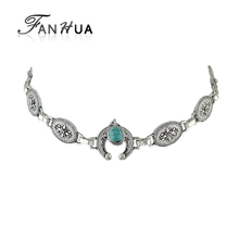 FANHUA Ethnic Style Antique Silver Color Flower Pattern Choker Necklace Statement Necklace Blue Stone Decoration Schmuck