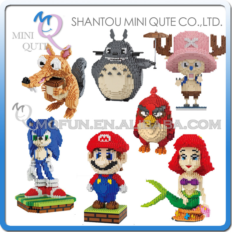 Mini Qute Belody huge cartoon game anime red bird super mario mermaid building blocks brick action figures model educational toy<br><br>Aliexpress