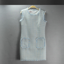light blue tweed dress autumn / winter women's dress advanced custom new small fragrant wild wind sleeveless vest ladies dress