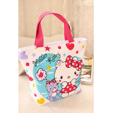 Cartoon Hello Kitty Canvas Shopping Bag Portable Large Capacity Handbag Ladies Shoulder Bag With Zipper Clutch Women's Bag