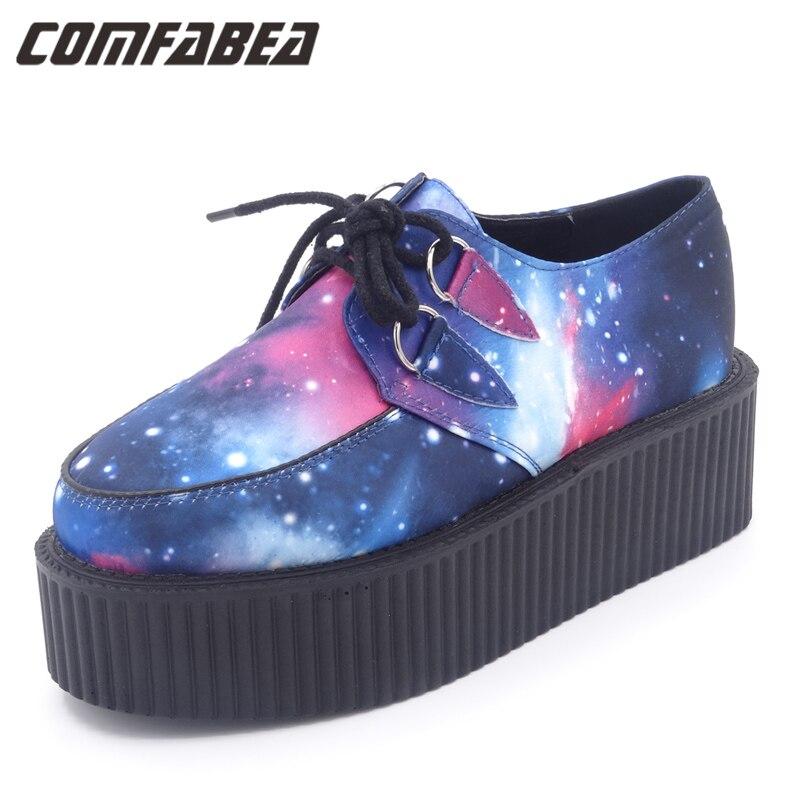 Spring Autumn HARAJUKU VIVI  Galaxy Blue Flat Creepers Platform Shoes For Woman Casual Women Punk Creeper Shoes Ladies Girls<br>