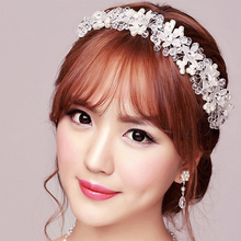 Glass Crystal White Flower Imitation Pearls Headbands Wedding Accessories hairbands for Bride Tiara Bridal Hair Jewelry Fashion