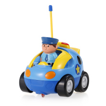 2CH Radio Control Cartoon RC Cars Police Poly Electric With Musical Light Mini Cars Automobile Race Children birthday Gift kids(China)