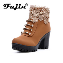 2017 fall Fashion Women Boots PU Leather Round Toe Ankle Boots Sexy Lace Ladies 7cm High Heels 2cm Platform Shoes Woman zip(China)