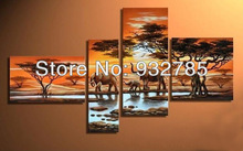 Free shipping! African savannah elephant sunsets! 100% hand-painted oil painting on canvas, home decoration(China)