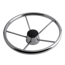 Durable Boat Steering Wheel 304 Stainless Steel 5 Spoke 25 Degree for Marine Yacht Water Sports Boat Wheel Replacement Silver