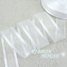 (50 yards/roll) 1'' (25mm) White broadside organza ribbons wholesale gift wrapping decoration ribbons(China)