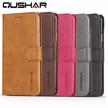 QuShar Business Brown Leather Phone Case for iphone X Flip Wallet Case Luxury Card Slot Phone Bag for iphone 10 Book Stand Cover(China)