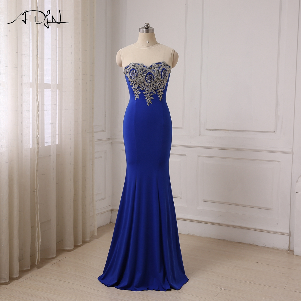 ADLN In Stock Mermaid Evening Dresses Lady Long Formal Party Dress Gowns Sheer Neck Floor Length Robe De Soiree Plus Size(China (Mainland))