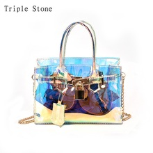 Triple Stone Laser Holographic Messenger Bag Clear Transparent Platinum Bag Small Lock tote Fashion Chain Women Lady Handbags