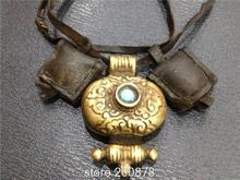 TGB240 Tibetan Old Brass Golden Oval Prayer Box Tibet Antiqued Vintage Flower Pendant Necklace with cow leather Bags Chain