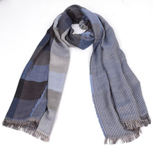 free ship 2016 tartan Scarves men winter new brand Fashion Plaid Scarf for Men Design cozy warm long scarf cotton brown Tassel(China)