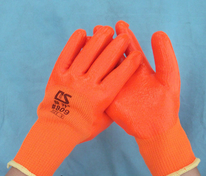 PVC Coated Rubber work gloves hands safety working protection industrial Orange for workers G0408<br><br>Aliexpress