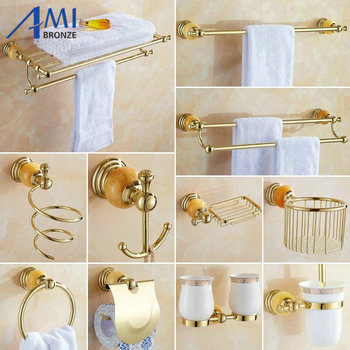 62 Jade Series Golden Polish Brass & Jade Wall Mounted Bathroom Accessories Sets Towel Rack Towel Shelf Paper Holder Soap Dish