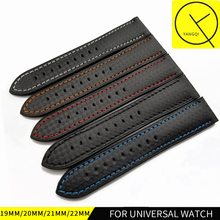 19/20/21/22mm Carbon Fiber Grain Silicone Rubber for Breitling Watchband for Tissot Watch Bracelet for Seiko Sports Strap Man(China)