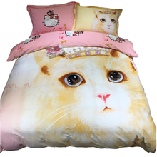 100% cotton duvet cover set,cat printed quilt cover/pink bed sheet/cat pillowcase,queen king twin size bedding set for adults