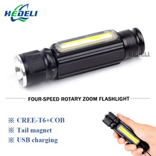 Magnet camping lamp mini usb led flashlight cree xml t6 torch rechargeable led lantern waterproof zoom 18650 battery flash light