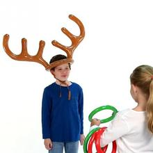 2016 Children Kids Inflatable Santa Funny Reindeer Antler Hat Ring Toss Christmas Holiday Party Game Supplies Toys