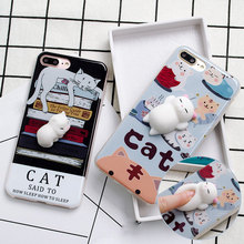 3D Cartoon Soft Doll Phone Cases For iPhone 6s 7 Silicone Case Lazy Cat Stress Reliever Phone Bag for iPhone 6s Plus 7 Plus