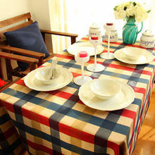 Yellow & Red & blue plaid design tablecloths Printed linen cotton table cloth Fabric tea tablecloth(ss-4045)(China)