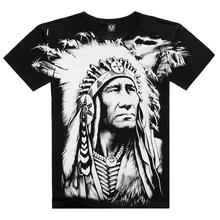 New T shirt Men Summer Style 2016 Fashion Men's Cotton Short Sleeve 3D Printed Indian Character Men Tops Hip Hop T shirts