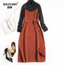 SHUCHAN 2017 Autumn Women Vintage Dress New Arrival Elegant Add A Belt Dress Knitted Pullover Patchwork Roman Cloth Vestido 7970(China)