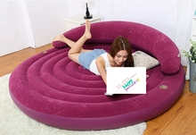 2017 New Intex Ultra Daybed Lounge Air Bed Purple Flocked Inflatable Round Sleeping Leisure Sofa Guest Bed W/ Backrest cupholder