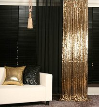 2x8ft-Gold Sequin Backdrop Shimmer Sequin Fabric Curtain for Home/Party Decoration