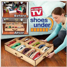 New 12 Cases Shoes Storage Organizer Shoe Holder Bag Box Under Bed Closet Brown(China)
