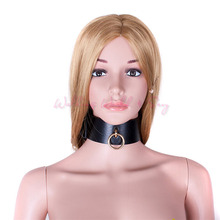 Buy 47cm Soft Pu Leather Sex Collar Bondage Adjustable Neck Collar Lock Fetish Slave Collar Adult Game Sex Toys Couples