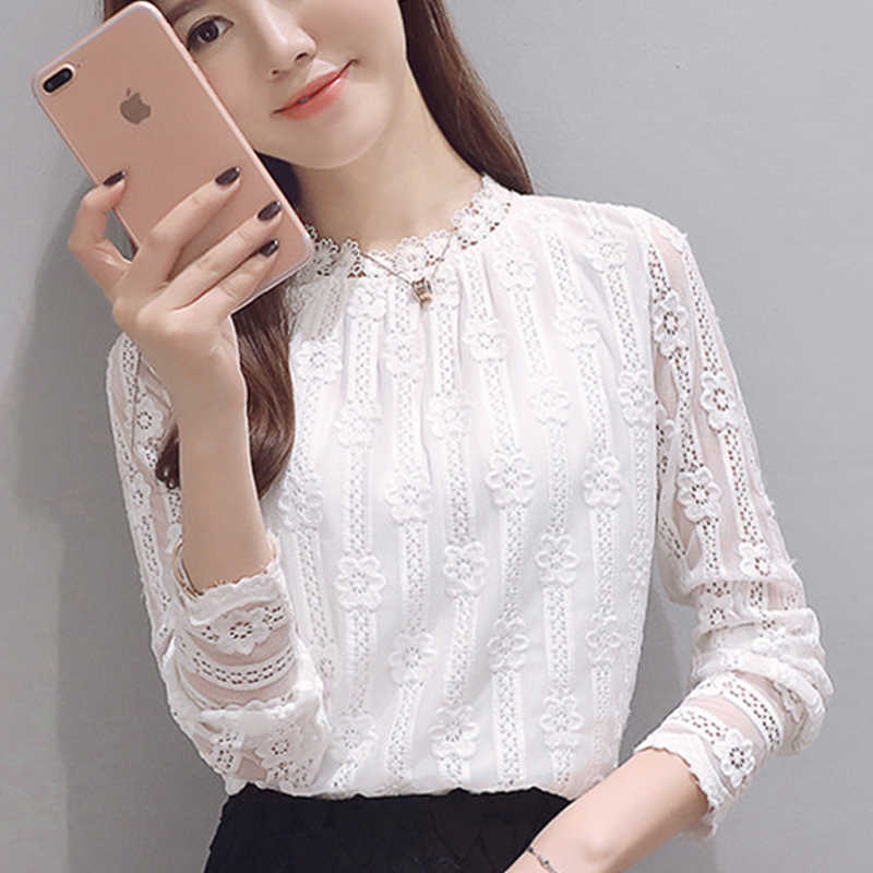 Women clothing New 2019 fashion plus size women s shirts Long sleeve white  Lace blouse shirt crochet 5cce6a659615