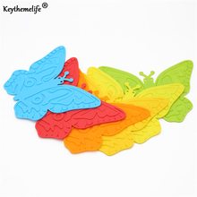 Keythemelife 1pcs Butterfly Silicone Coffee Table Cup Mats Pad Placemat Cup Coaster Cooking Tools D0