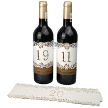 H&D Ivory Laser Cut Wedding Table Number 11-20 Wraps For Wine Bottle With Flower Pattern Rustic Wedding Favors(China)