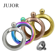 JUJOR Bangle Bracelet Hip Flask Silver Rainbow Copper Gold Stainless Steel High Quality Whiskey Drinkware and Funnel Set(China)
