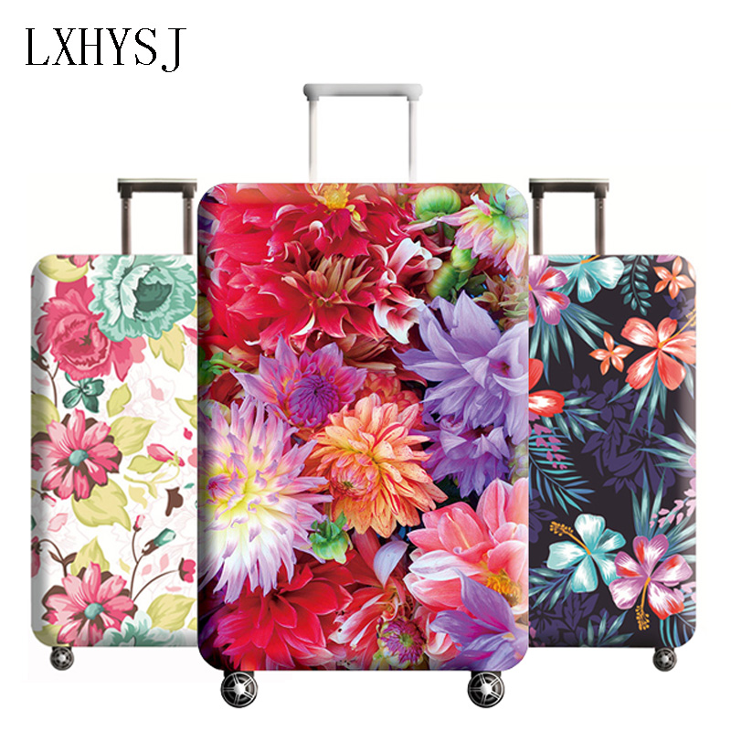 Luggage Protective Covers with Skulls And Floral Pattern Washable Travel Luggage Cover 18-32 Inch