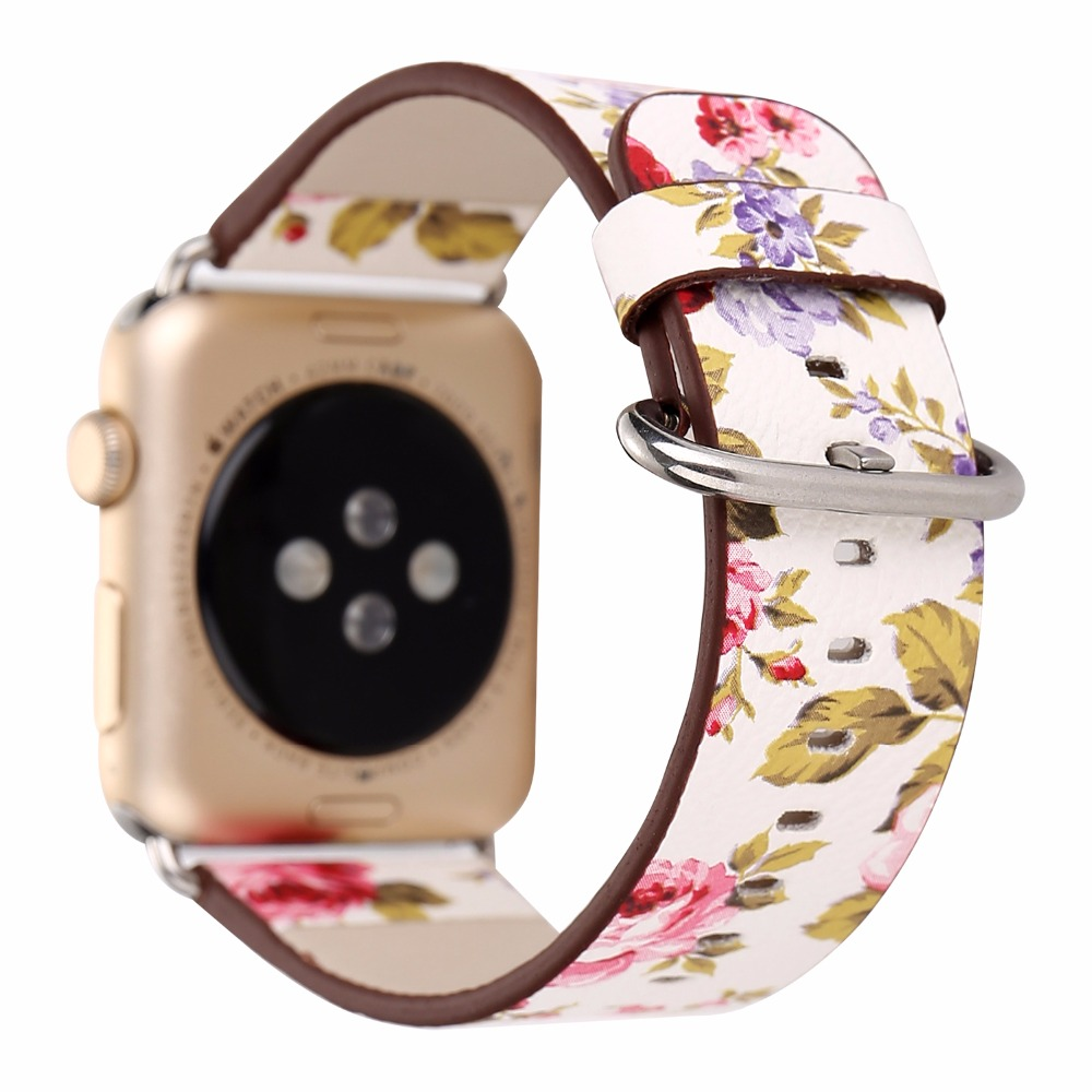 Flower Prints PU Leather Watch Band 38/42mm Apple Watch Women's Men's Wristwatch Strap Belt Bracelet Pink Yellow Purple I262