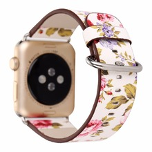 Flower Prints PU Leather Watch Band for 38/42mm Apple Watch Women's Men's Wristwatch Strap Belt Bracelet Pink Yellow Purple I262(China)