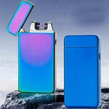 2017 USB Electric Metal Flameless Torch Rechargeable Windproof Lighter Double arc pulse cross ligthers smoking lighter 5 colors(China)