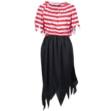 Pirate Cosplay Costume Women Halloween Costumes Pirate Cosplay Short Sleeve Striped Party Dress Skirts for Lady
