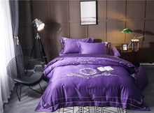 2017 New Style Embroidery blue white purple Color 4 PCS Bedding Set King Queen Duvet Cover Flat Sheet PillowCase(China)