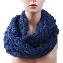 2017 Winter Cable Ring Scarf Women Knitting Infinity Scarves Knitted Warm Neck Circle Scarf bufandas cuellos Hot Sale 988544(China)