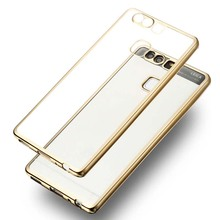 For Huawei P9 Ultra Slim Luxury Electroplating Crystal Soft Silicon Clear TPU Case Transparent Back Cover Cheap(China)