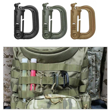 2 PCS Grimloc Molle Carabiner D Locking Ring Mount D-Ring Plastic Clip Snap Hook Black Buckle