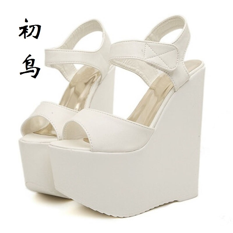 2017 Fashion 17 cm White Peep Toe Sexy Women Wedges Sandals Extreme High Heels Ladies Pumps Platform Shoes Woman Summer style<br>
